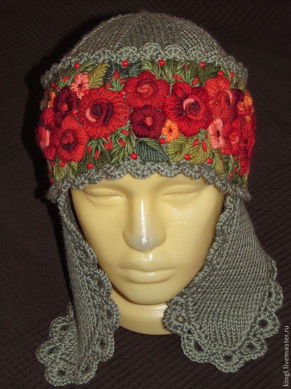 Купить шапка с ушками с ручной вышивкой большого размера Красна девица - шапка с ушками