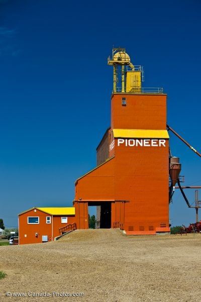 The bright red building is a grain elevator in Coronach in Southern Saskatchewan