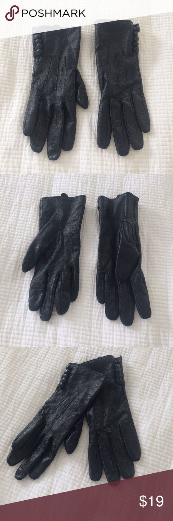 Black leather gloves buttons - Black Leather Gloves