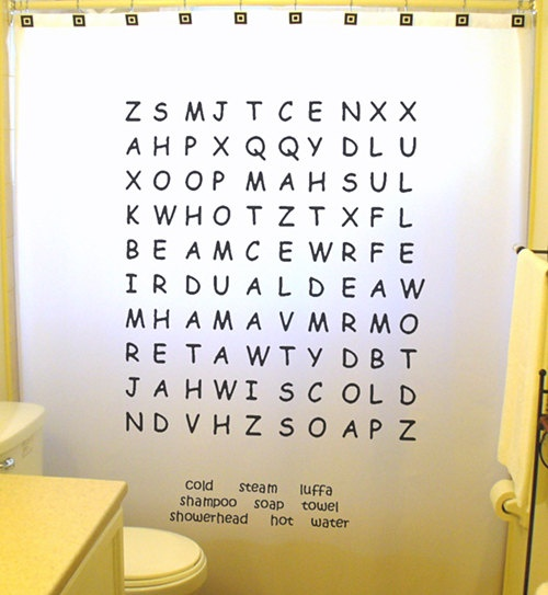 Word Search Shower Curtain Custom Words by CustomShowerCurtains ...
