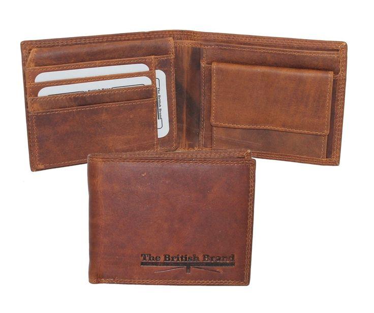 The British Brand Herren Leder Geldbörse cognac mit RFID Schutz