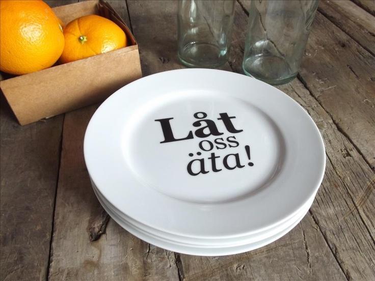 Let us Eat...Porcelain Dessert Plates in Swedish Set of 4. 48.00, via Etsy.