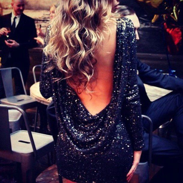 I love the back here- not always a fan of sequins/glitter but it works here and the blue is beautiful