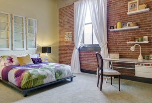 Eclectic Guest Bedroom with interior brick, Set of 2 Traditional Shelves - White, High ceiling, Eldorado Stone RomaBrick