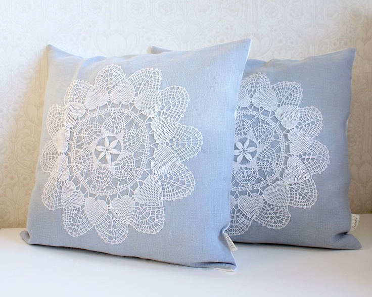 set of two pillow covers 16x16 inches sky blue by Tuuni on Etsy, €70.00