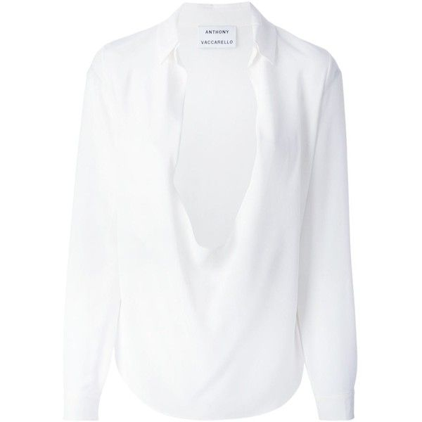 Anthony Vaccarello plunging neck draped blouse ($995) ❤ liked on Polyvore featuring tops, blouses, tops/shirts, white, shirts & tops, white silk blouse, white tops, white shirt and white silk top