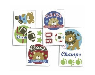 Baby Jungle Animals Sports Nursery Wall Decals: I went with a sports jungle nursery theme since wanted something different for our baby's room.  My husband wanted a sports baby nursery and I had my eye