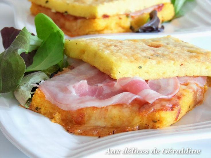 Aux délices de Géraldine: Croque polenta à la mozzarella, pancetta et sauce arrabiata (croque-monsieur à la polenta)