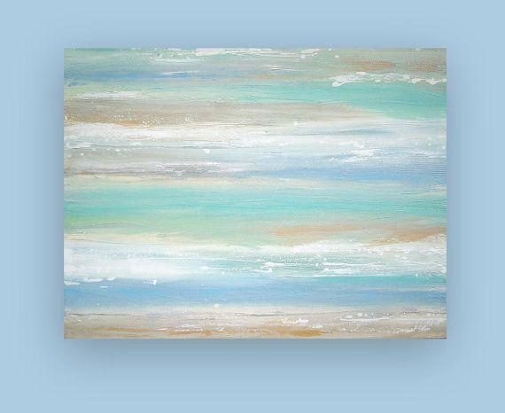 Beach Shabby Chic Original Acrylic Abstract Painting Titled: Sandcastles 5 36x48x2 by Ora Birenbaum