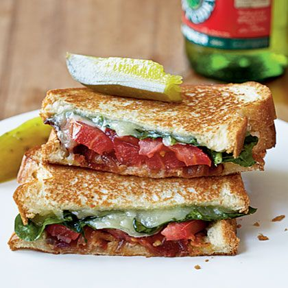 Grown-Up Grilled Cheese Sandwiches — BLT with sautéed red onion and white cheddar (maybe use mozzarella instead?).
