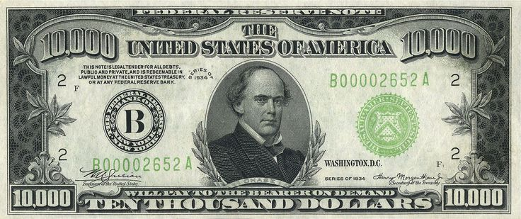 The highest denomination to circulate publicly, the $10,000 bill was issued until 1946 and featured former Treasury Secretary Salmon P. Chase. While Chase's accomplishments were many, he chose his own portrait for the bill due to his presidential ambitions.