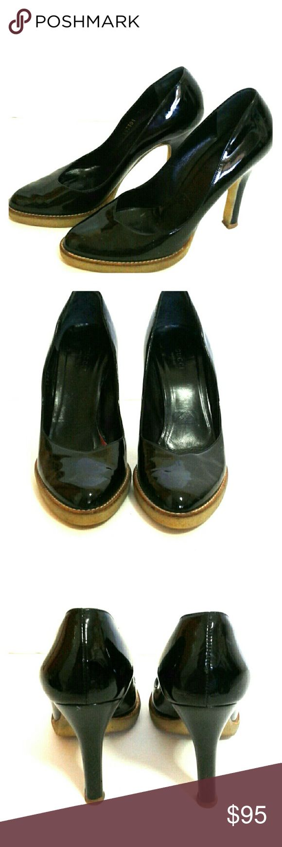 AUTHENTIC GUCCI PATENT LEATHER HIGH HELLS Gucci black patent leather size 7/2 pumps classics made in italy ,used little signs of wear but in good condition Gucci Shoes Heels