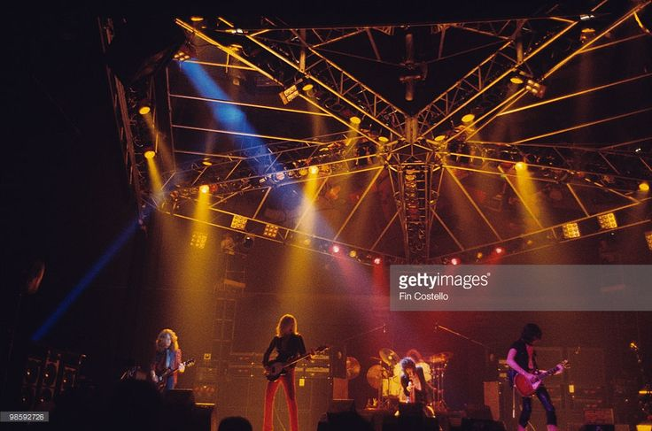 Brad Whitford, Tom Hamilton, Steven Tyler and Joe Perry of Aerosmith perform on stage at The Summit in Houston, Texas on June 24, 1976.