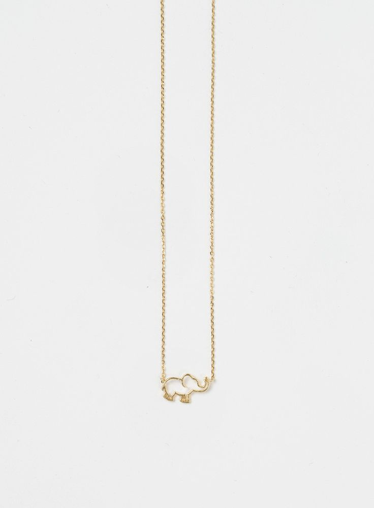 How adorable is this necklace?! We love that our Ellie Elephant Gold Dainty Necklace makes any outfit more playful and fun! Hanging length measures 8.25 in long. Pendant size: 1.5 x 0.9 cm All jewelry
