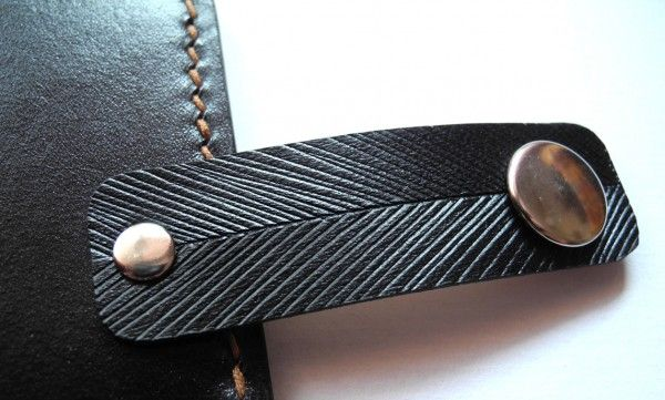 Handmade leather wallet, Draco - the Dacian wolf, tooled leather, hand painted (detail)