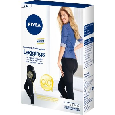 Leggings Q-10, remodelan al instante, reafirman vientre, glúteos y piernas. Compatibilidad con la piel dermatológicamente comprobada. Adecuado para el uso post embarazo. Color negro. Talla S-M.