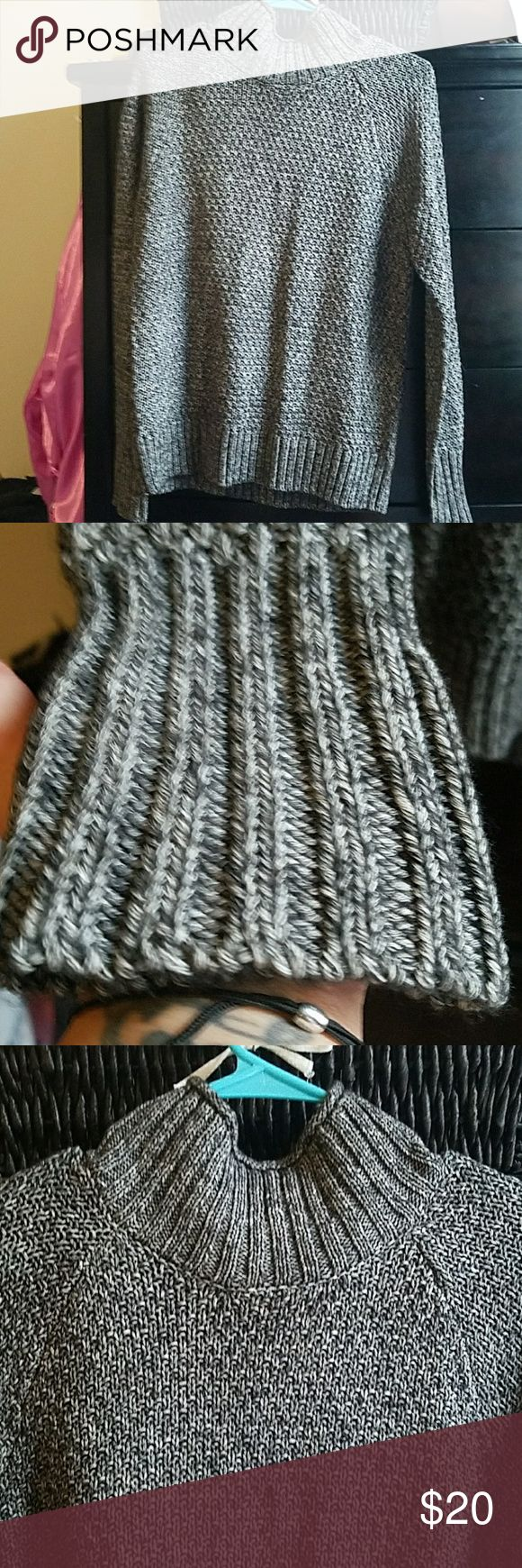 CHAPS WOMEN'S TURTLENECK/SLIGHT COWL NECK SWEATER 80% cotton,  20% acrylic charcoal, black and white knitted sweater. PERFECT CONDITION WORN ONCE  Fits somewhat loosely, I prefer my sweaters a little baggy, this is the perfect sweater for the upcoming fall & winter! Chaps Sweaters Cowl & Turtlenecks