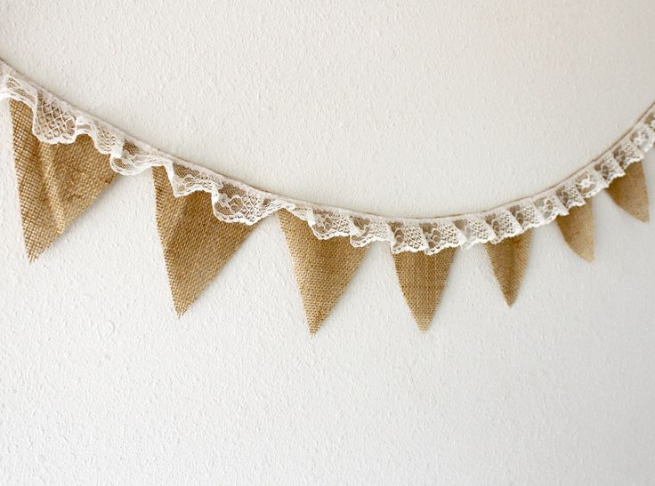 Burlap and lace fabric banner.