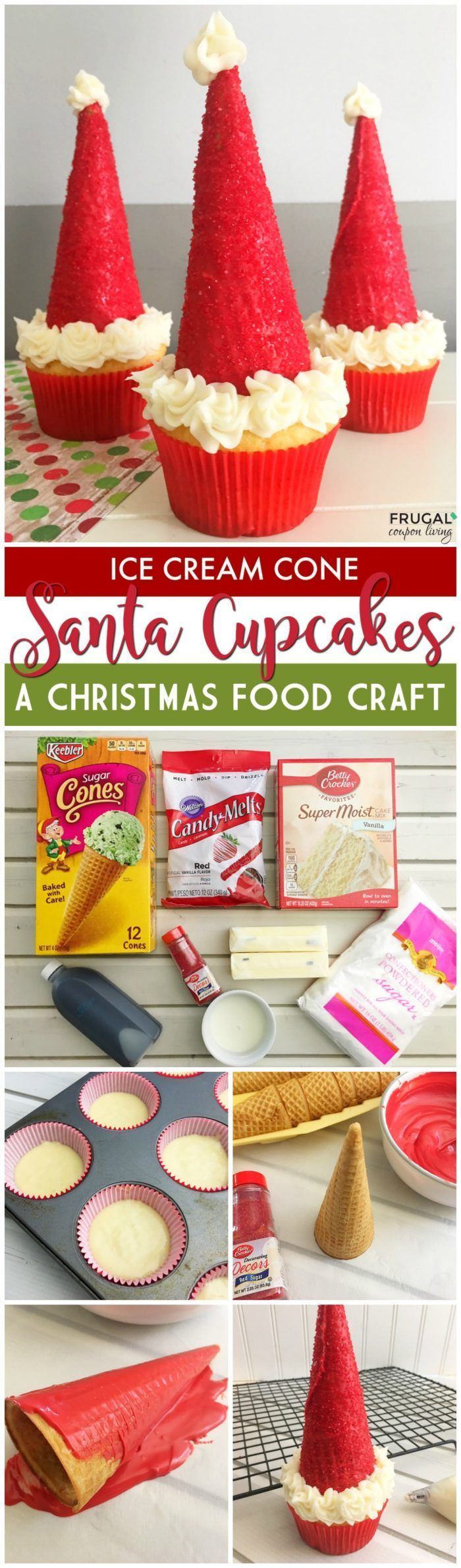 Ice Cream Cone Santa Hat Cupcakes on Frugal Coupon Living  This is a fun Kids Food Craft for the Christmas holidays. Maybe a treat you leave for Santa instead of cookies! #santa #kidsfoodcrafts #christmas #cupcake #kidsfoodcrafts #christmascupcakes #cupcakes #cupcakerecipe #santaclaus