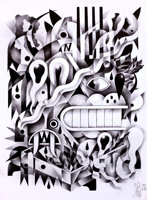 Ballpoint Drawings by Seb NIARK1 FERAUT, via Behance