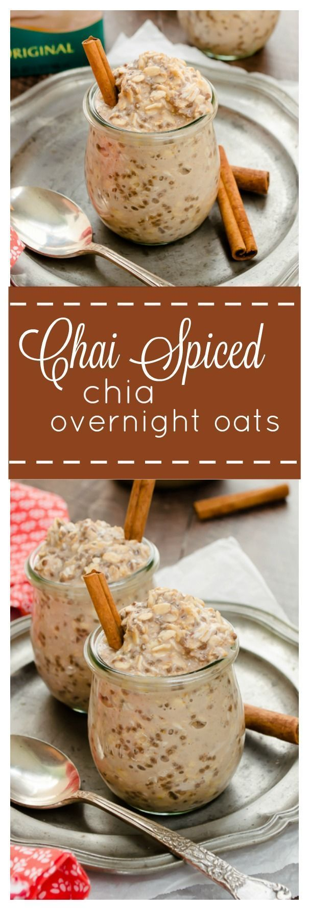 Chai Spiced Chia Overnight Oats are creamy overnight oats with warm chai spices. They're gluten-free and vegan, and are the perfect grab-n-go breakfast! /FlavortheMoment/