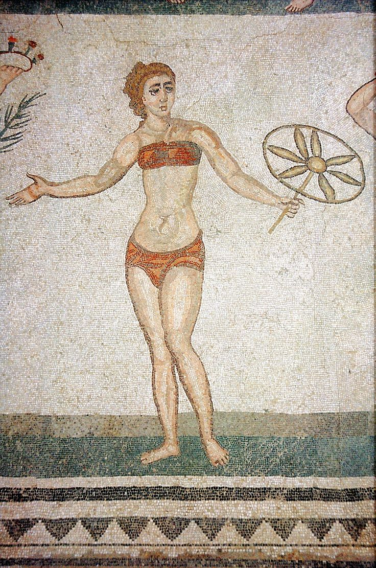 A famous bikini mosaic from Villa Romana del Casale in Sicily. Roman, 4th century AD Photo source: Andreas Wahra (own work) and AlMare, via ... As the Ancient Greeks believes that the red colour or red underwear tape (obereg) protect the boby and the spirit.