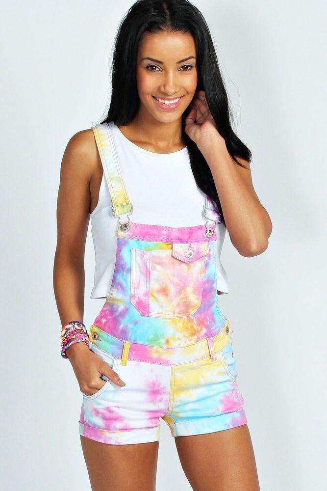 Boohoo Womens Sienna Multi Coloured Tie Dye Denim Dungaree Shorts in Multi size | eBay