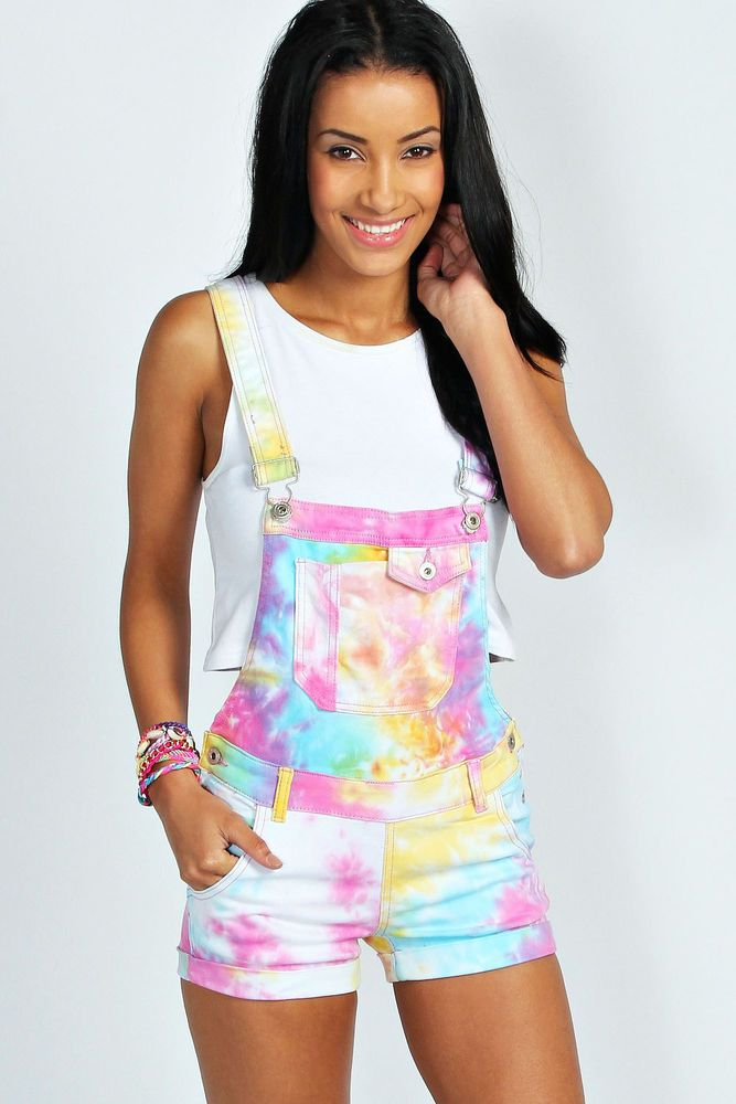 Boohoo Womens Sienna Multi Coloured Tie Dye Denim Dungaree Shorts in Multi size | eBay