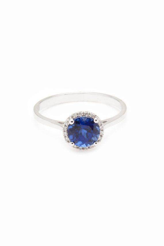 14k White Gold Blue Sapphire Corundum Gemstone Ring with Diamond Halo