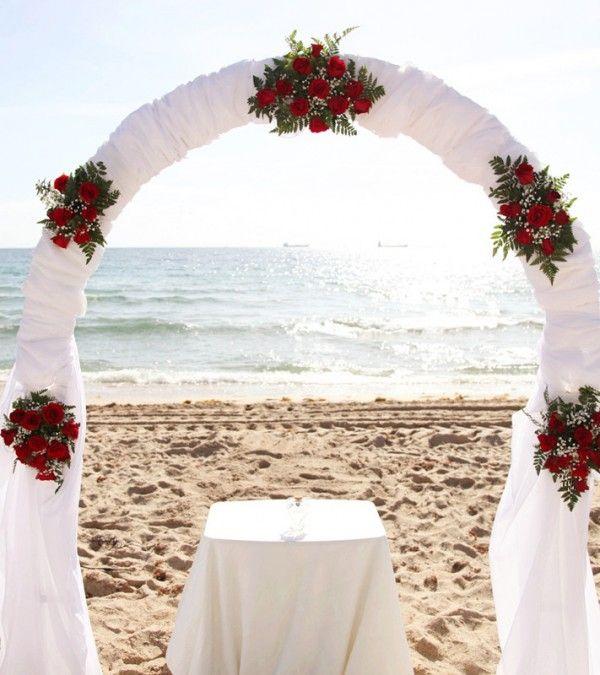 2014 red roses beach wedding arch, white chiffon beach wedding arch.