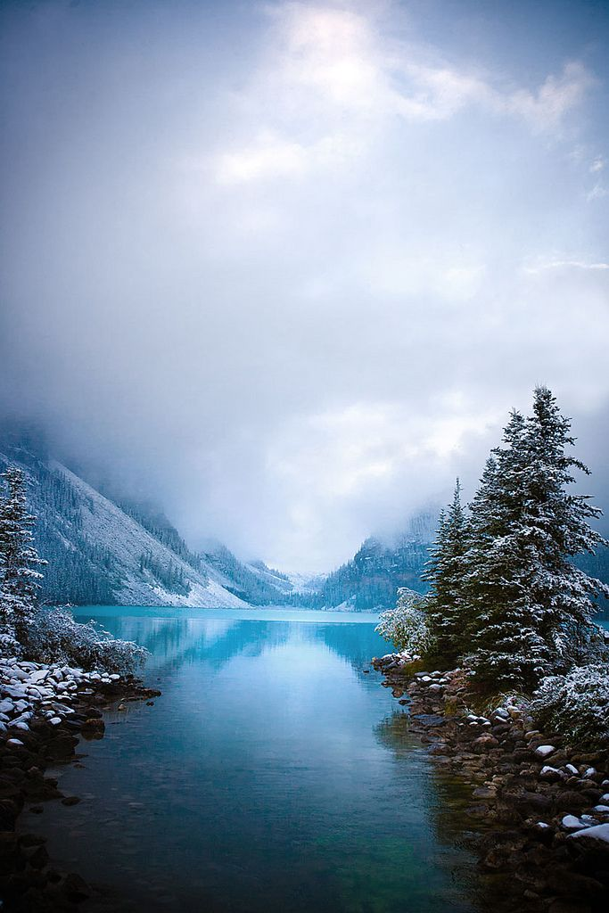Foggy dawn at Lake Louise (by Clickr Bee)