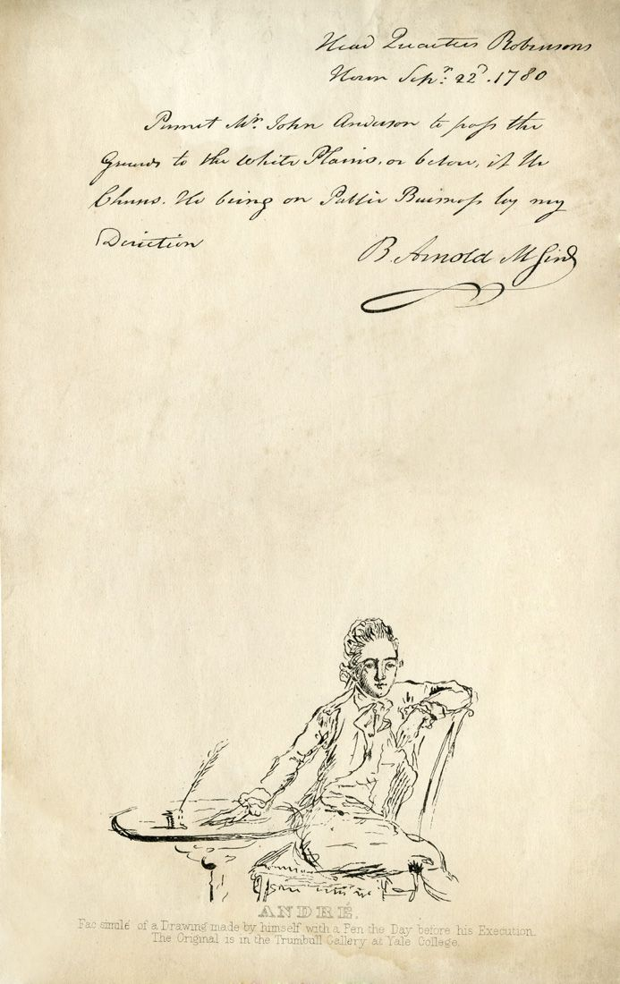 September 23, 1780:  Upon discovery that he had been plotting with Benedict Arnold, British Major General John André is arrested as a spy by the Continental Army.   Facsimiles of self-portrait by André (a drawing he made by himself with a pen the day before his execution, the original is in the Trumbull Gallery at Yale College) and letter from Benedict Arnold to John André as Mr. John Anderson, Sept. 22, 1780.  NYHS Image #87312d.