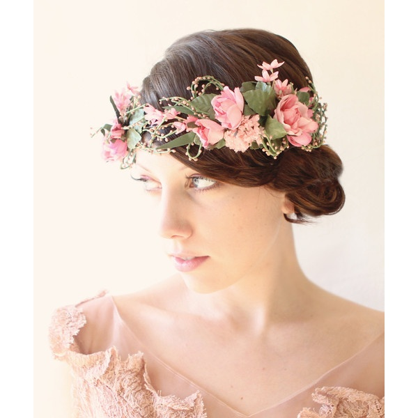Whimsical floral head piece, Bridal hair crown, Pink flower crown,... ($200) ❤ liked on Polyvore