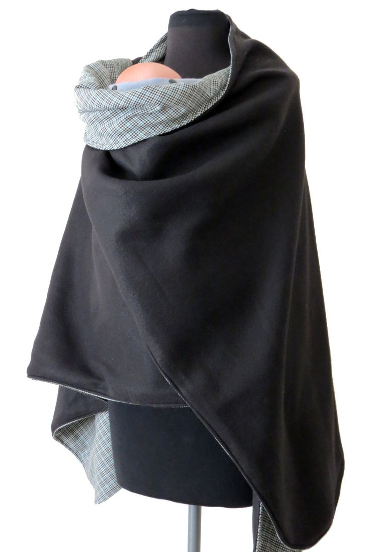 Babywearing Coat & Maternity Wrapping Poncho - Two Layers - REVERSIBLE - Wool Houndstooth and Black Fleece