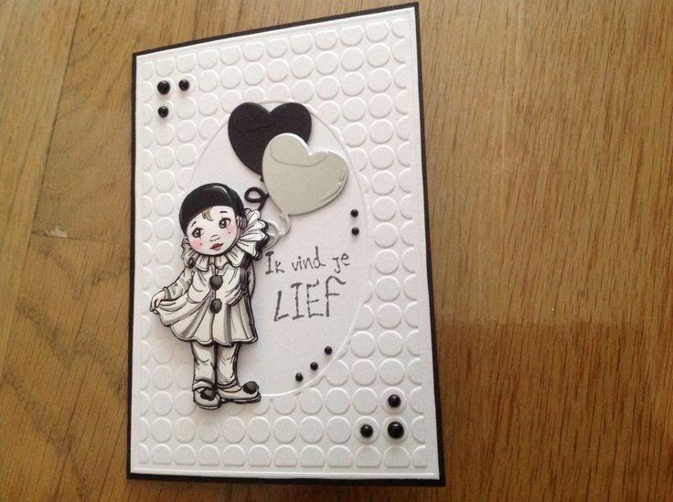 Nog zo'n schattig kaartje met Pierrot van Yvonne Creations.