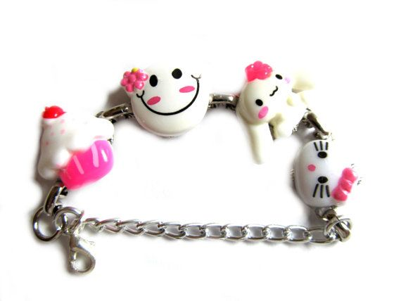 Handcrafted Darling Tiny Pink and White Charm Bracelet by Framily