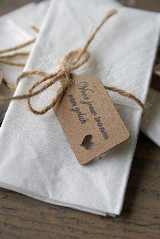Label - Voor jouw tranen van geluk. For your tears of happiness