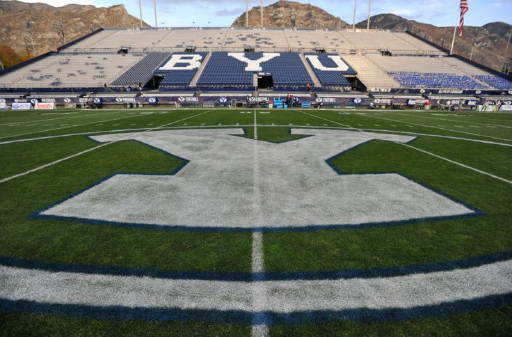 General View of LaVell Edwards Stadium And The Field Logo Before The Game Between The Mississippi State Bulldogs And The Brigham Young Cougars on October 14, 2016 in Provo Utah.