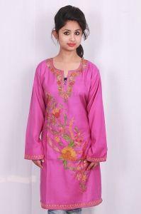 PinkKurti  Kashmiri Aari work.  Summer cool cotton fabric  Looks very elegant