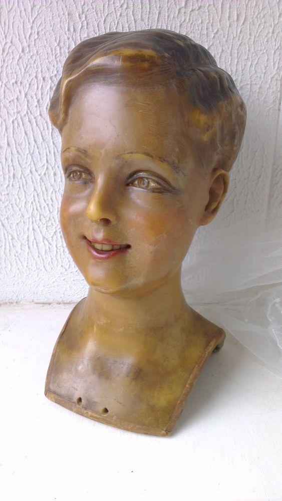 Great, antique,vintage WAX mannequin head ,child ,wax head,wax bust ,boy,