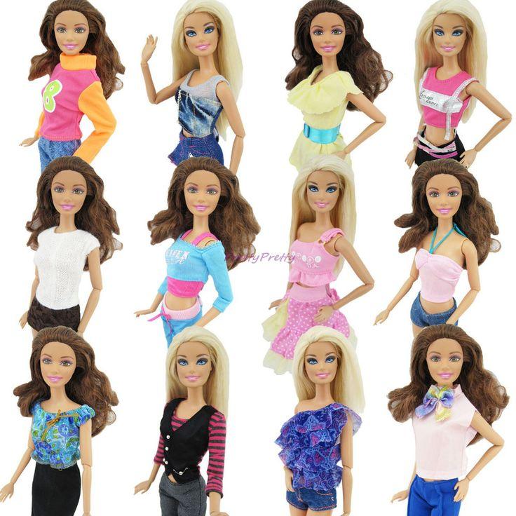 Случайно Выбрать Много 20 Шт. = 10 Обувь + 10 Компл. Мода наряд Блузка Брюки Платье Шорты Брюки Юбка Одежда Для Куклы Барби купить на AliExpress