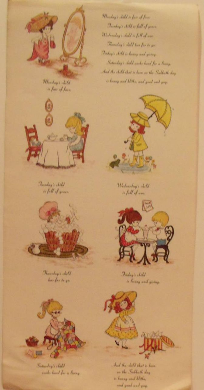 monday's child illustrations | Monday's Child Poem Illustrated with Verse from carolines-collectibles ...