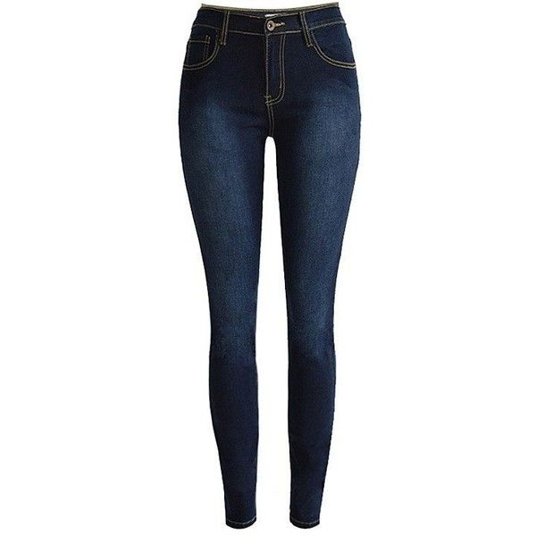 Yoins High Waist Skinny Jeans in Dark Blue ($32) ❤ liked on Polyvore featuring jeans, pants, bottoms, calças, pantalones, blue, high rise skinny jeans, dark blue jeans, button-fly jeans and super skinny jeans