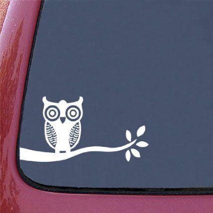 Owl on branch design 1 white car vinyl decal sticker