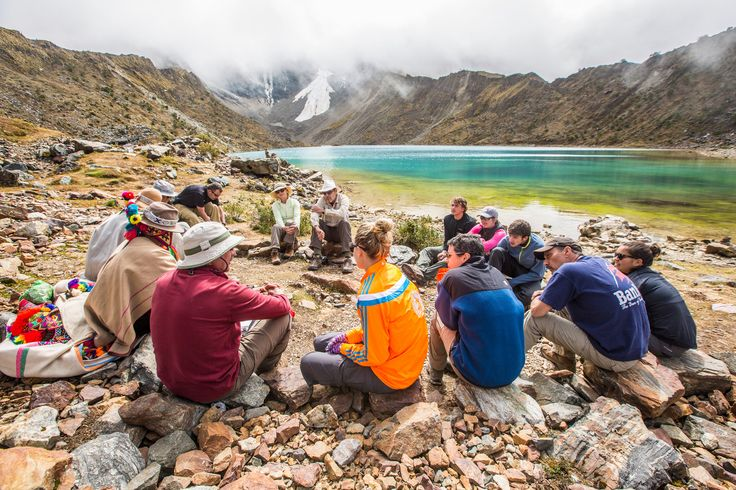 """Blessing ceremony """"Pago a la Tierra"""" on the shore of the glacial lake @experiencemlp"""