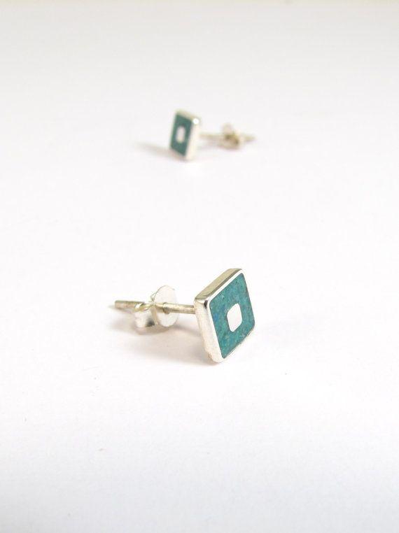 Sterling Silver Earrings  Turquoise Squares by maldonadojoyas, $20.00
