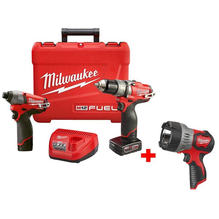 Milwaukee M12 Fuel 12-Volt Lithium-Ion Brushless Cordless 1/2 in. Hammer Drill/Impact Combo Kit w/ Free M12 LED Spotlight