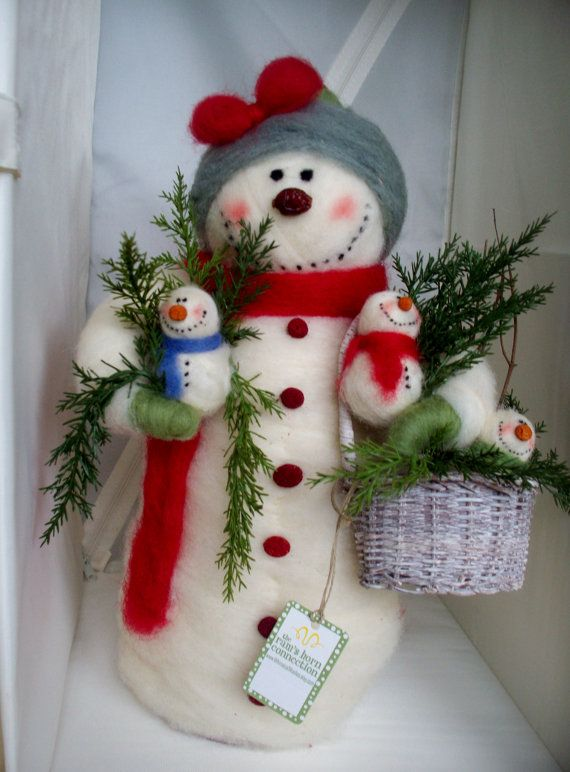 Breezy and Babes Felted Wool Snowman 14  NEW by WhimsicalWoolies, $82.00