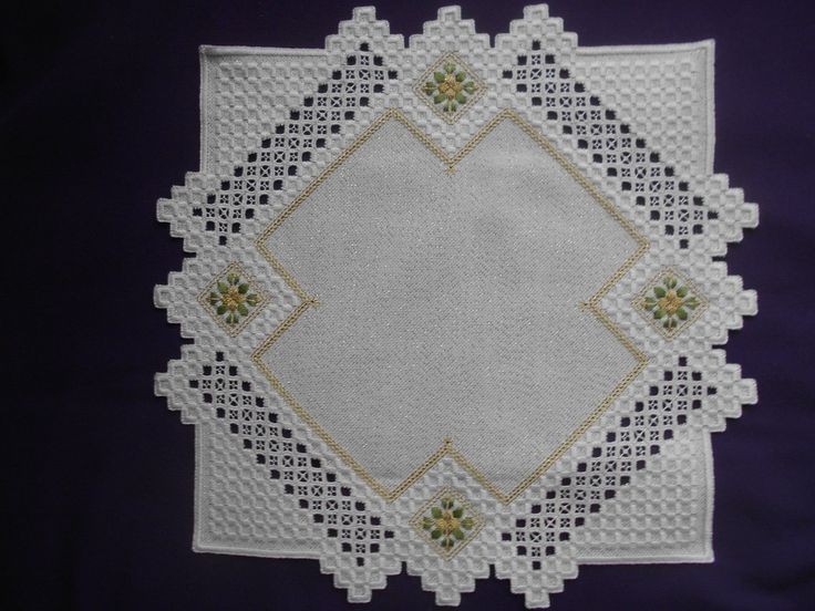 White and Gold Christmas Hardanger Doily Poinsettias CAD $75.07. I have up for auction a beautiful Christmas Hardanger Doily with Poinsettias, it is stitched with green, white and gold metallic DMC perle cotton on white 20 count Lugana fabric with gold threads for extra sparkle, the doily measures about 16 x 16 inches. It is hand stitched by me with the finest fabric and thread. Payment is due within 3 days after end of auction, and I accept PayPal only. My account automatically opens unpaid…