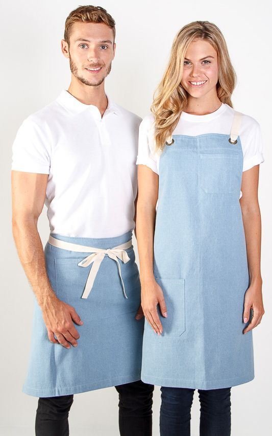 New denim apron in store.  Branding uniforms. Embroidery logo. Activ Embroidery Designs. activembroiderydesigns.com.au